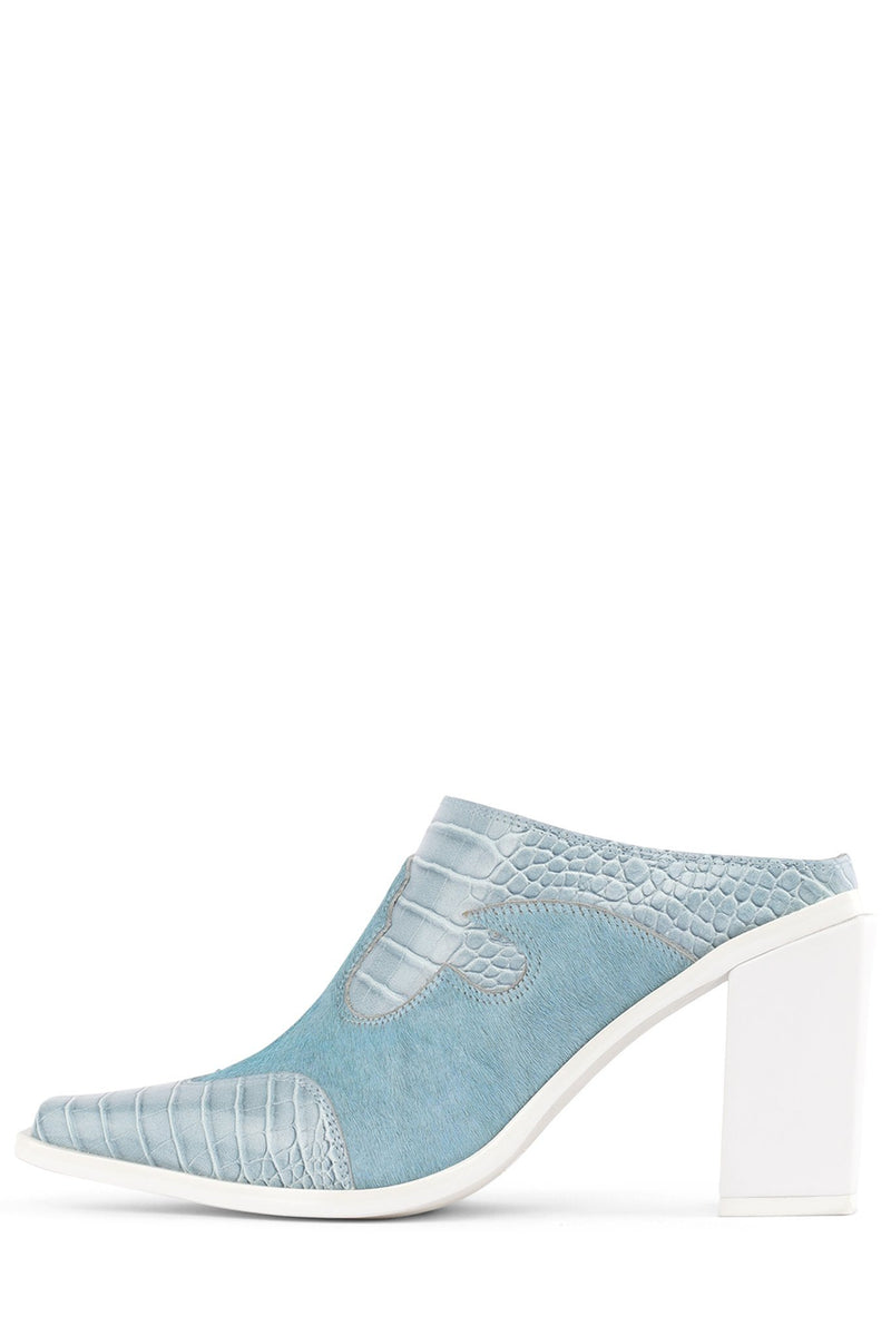 COWGIRL Heeled Mule YYH Blue Exotic Combo 6