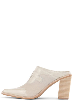 COWGIRL Heeled Mule YYH Ivory Exotic Combo 6