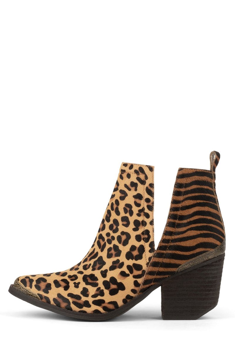 CROMWELL-F Bootie ST Tan Cheetah Brown Blk Zebra 6