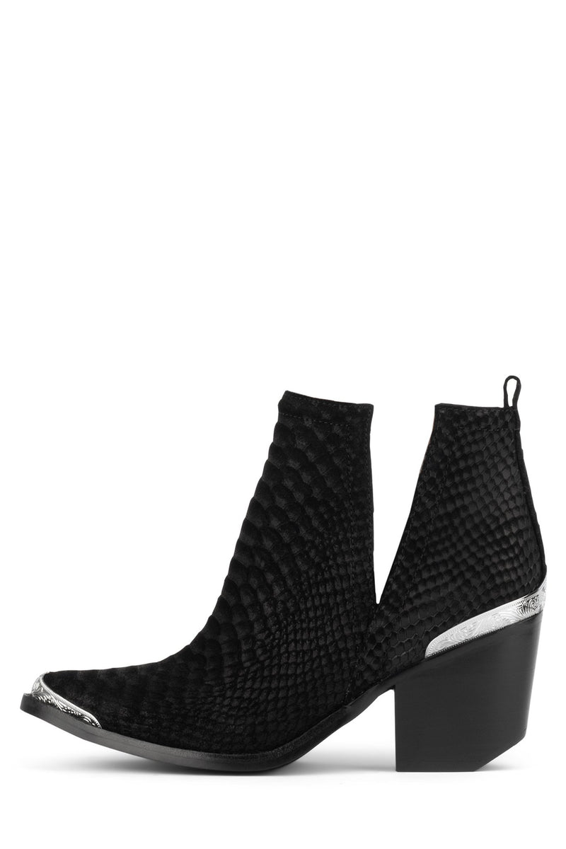 CROMWELL Heeled Bootie Jeffrey Campbell Black Suede Snake 5