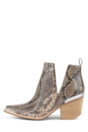 CROMWELL Heeled Bootie ST Beige Brown Snake 5