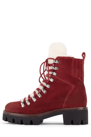 CULVERT Boot Jeffrey Campbell Red Suede Ivory 6