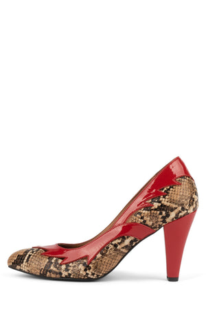 CYNDI Pump ST Beige Black Snake Red Pat 6