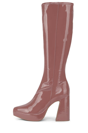 DORMANT-KH Platform Boot HS Dark Rose Crinkle Pat 6