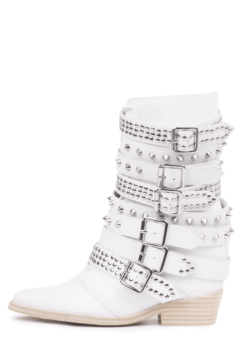 DRACO-STUD Mid-Calf Boot RB White Silver 5
