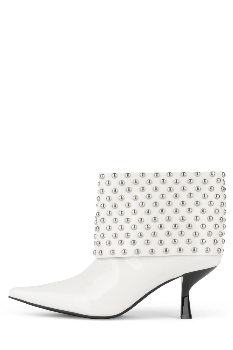 EGNYTE-SC Heeled Bootie YYH White Patent Silver 6