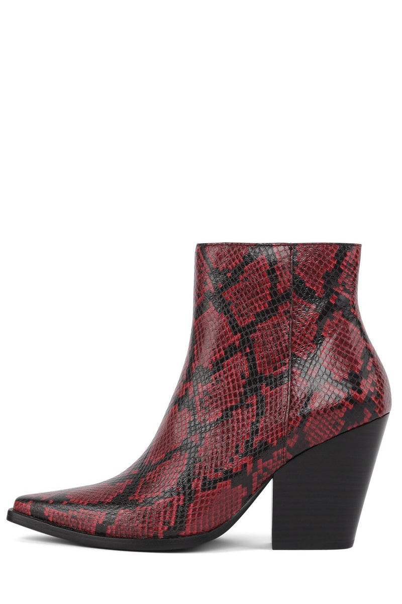 ELEVATED Bootie Jeffrey Campbell Red Black Snake 6