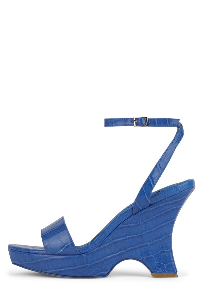 FLORA Wedge Sandal YYH Blue Croco 6