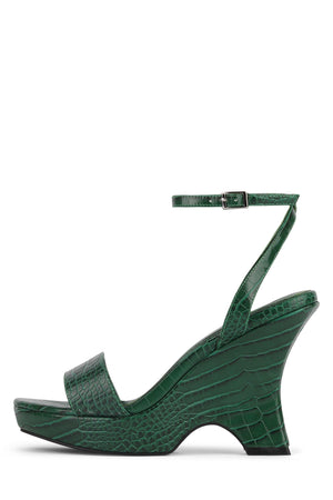 FLORA Wedge Sandal YYH Green Croco 6