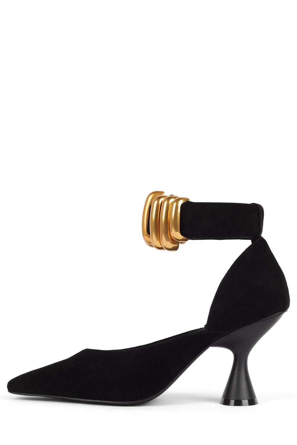 GAMME-LNK Pump STRATEGY Black Suede Gold 6
