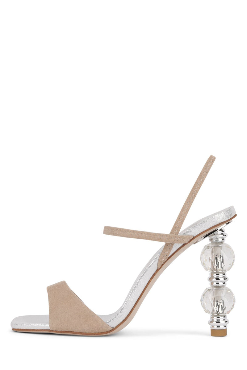 GEMA-2 Heeled Sandal STRATEGY Silver Nude Suede 6