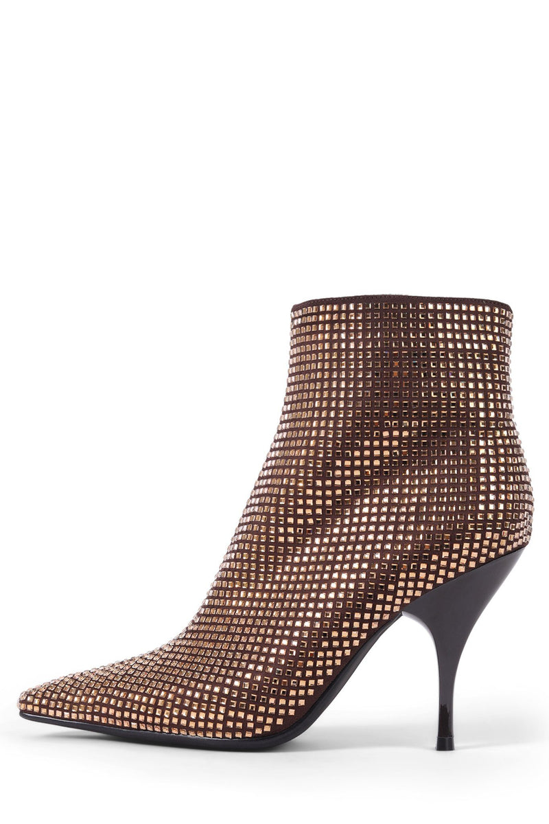 GLAMMED Heeled Bootie ST Brown Satin Brown 6