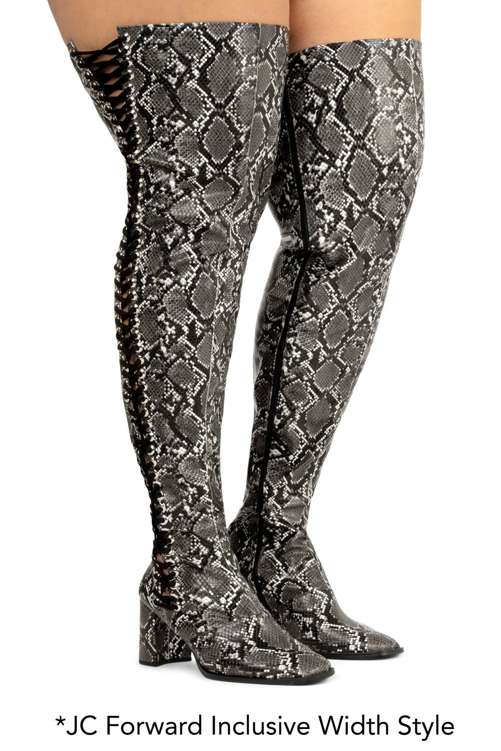 HEEL-FLIP Boot RB Grey Black Snake 6W