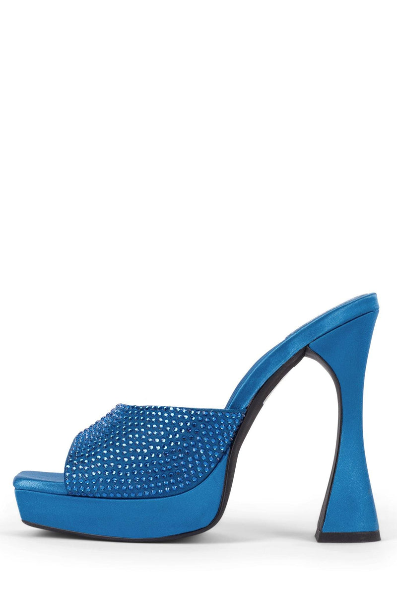 HOLLYWOODJ Heeled Mule Jeffrey Campbell Bright Blue Satin Blue 5