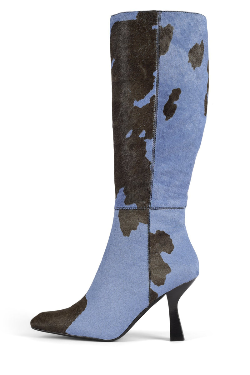 HUXTABLE-F Knee-High Boot Jeffrey Campbell Baby Blue Brown Cow 6