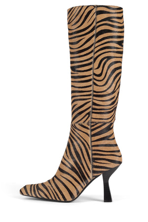HUXTABLE-F Knee-High Boot Jeffrey Campbell Beige Black Zebra 6