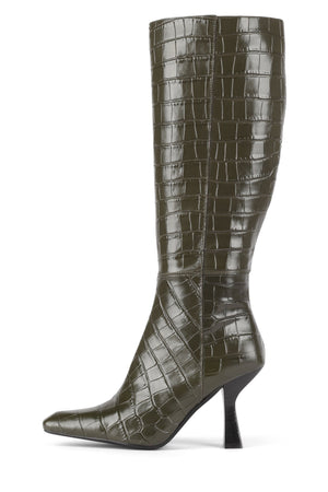 HUXTABLE Knee-High Boot Jeffrey Campbell Khaki Croco 6