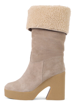 KARTINI-SH Mid-Calf Boot YYH Natural Suede Ivory 6