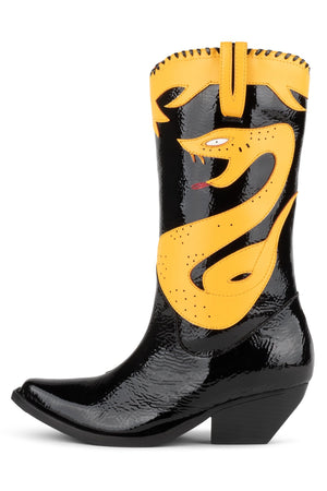 KLLR-COBRA Mid-Calf Boot HS Black Crinkle Pat Yellow 6