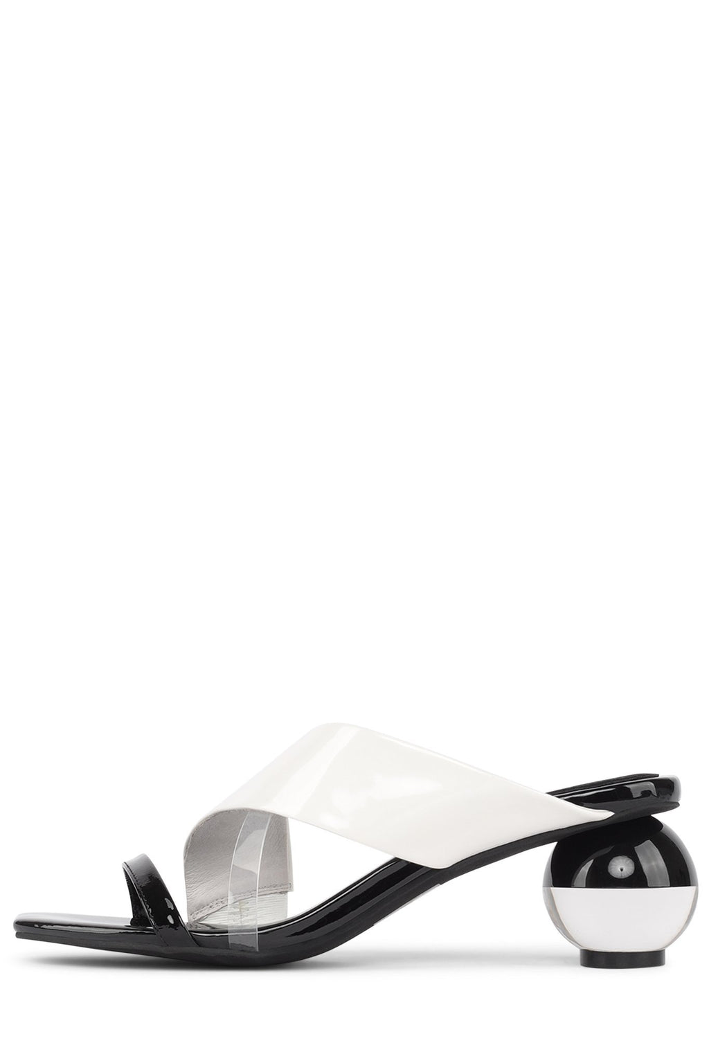 LATERAL Heeled Sandal Jeffrey Campbell Black Pat White Pat Clear 6