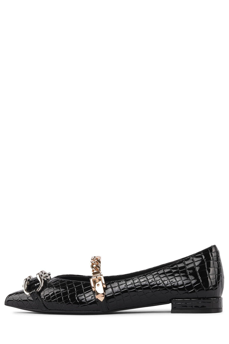 LAVINIA-BT Flat Jeffrey Campbell Black Croco Gold Silver 6
