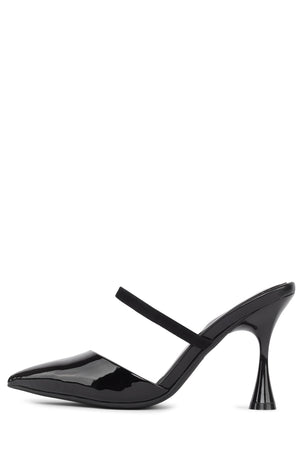 LILLIANA Heeled Mule Jeffrey Campbell Black Patent Black Suede 6
