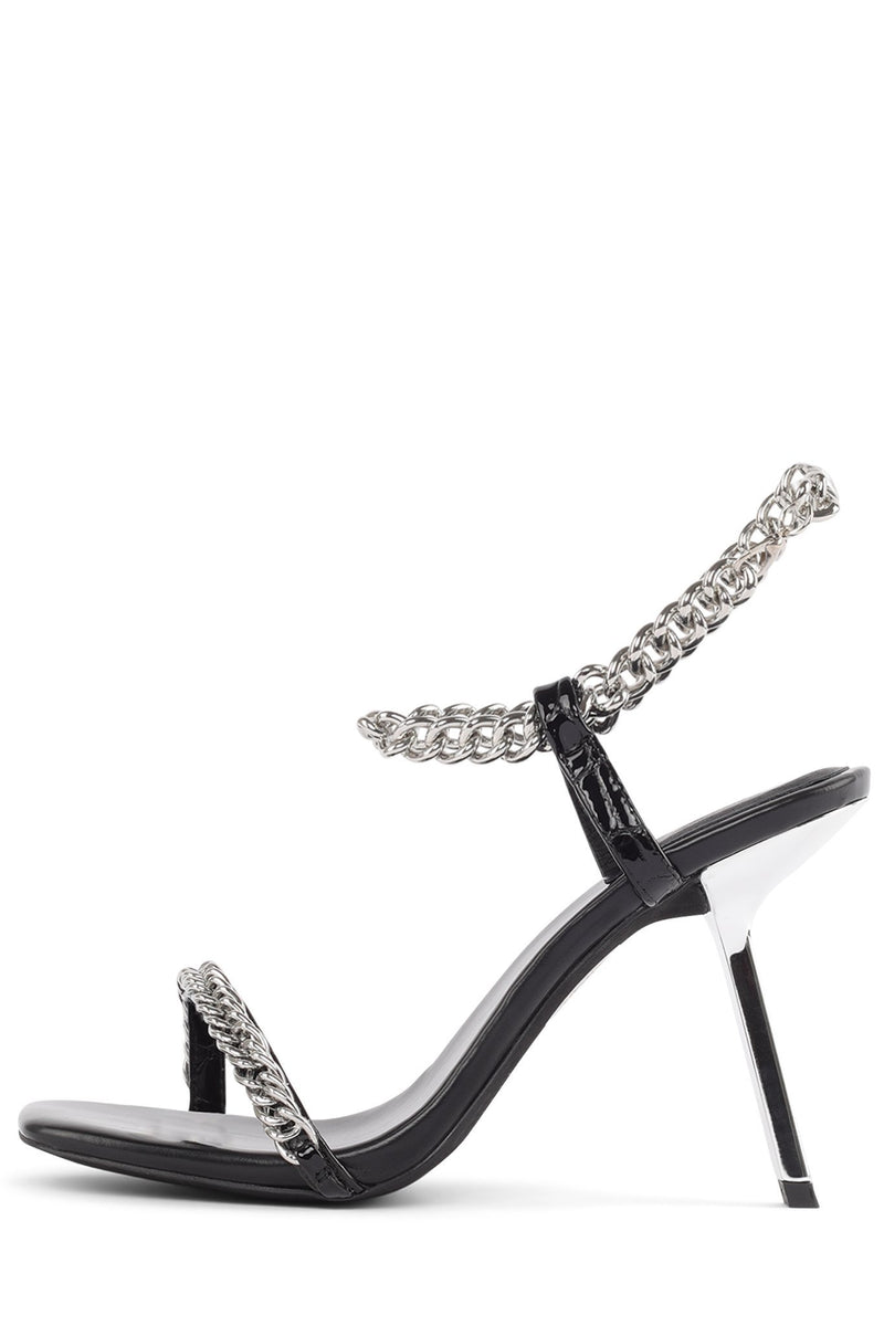 LOYAL-CHN Heeled Sandal ST Black Croco Patent 6