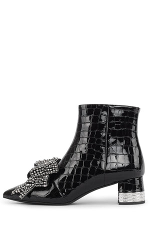 LUCI-JH Heeled Bootie STRATEGY Black Croco Pat Silver 6