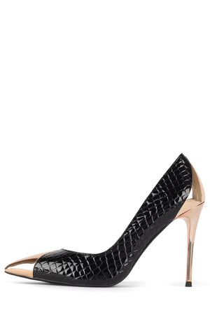 LURE-MTH Pump STRATEGY Black Croco Pat Gold 6