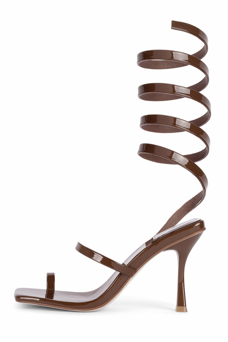 LUZIA Heeled Sandal Jeffrey Campbell Brown Patent 5