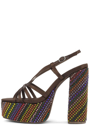 MAMMA-MIA Platform Sandal Jeffrey Campbell Brown Satin Bright Multi Jewel 6