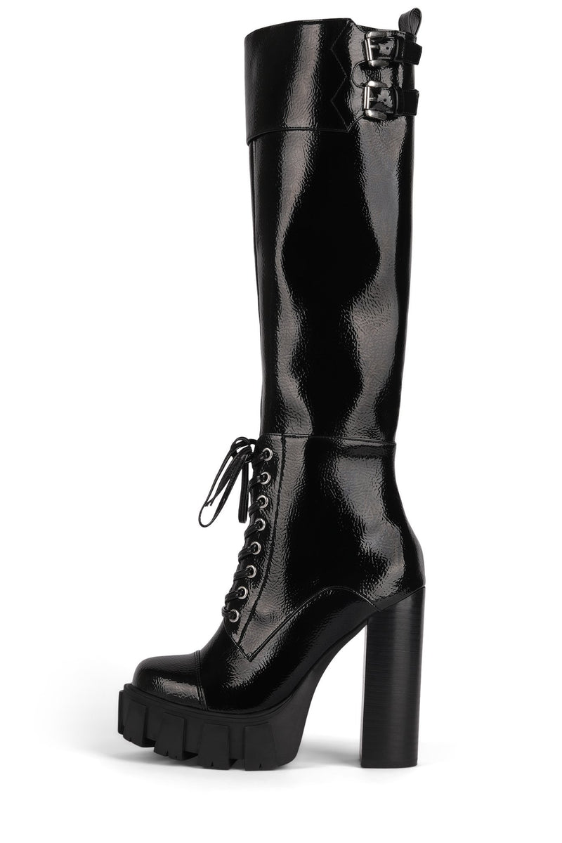 MYTHIC Knee-High Boot HS Black Crinkle Patent 6