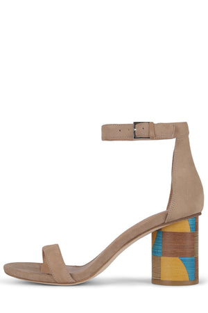 PURDY-2WH Heeled Sandal Jeffrey Campbell Nude Suede Cube Heel 6.5
