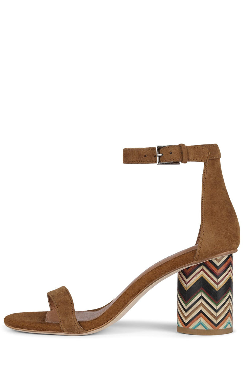 PURDY-2WH Heeled Sandal Jeffrey Campbell Tan Suede Chevron Heel 6