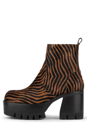 QUAVO-F Platform Boot HS Brown Black Zebra 6