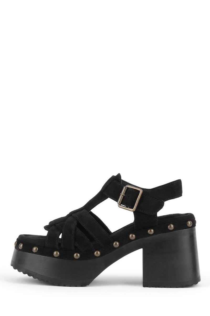 RING-IT Platform Sandal HS Black Suede Black 6