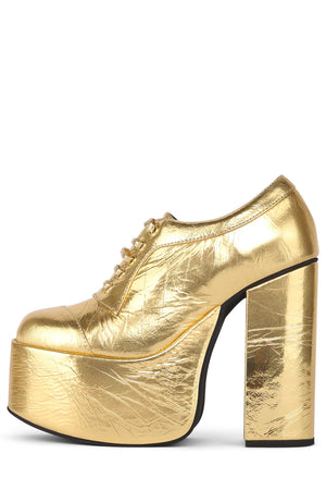 ROCK-OUT Oxford Jeffrey Campbell Gold Crinkle 6.5