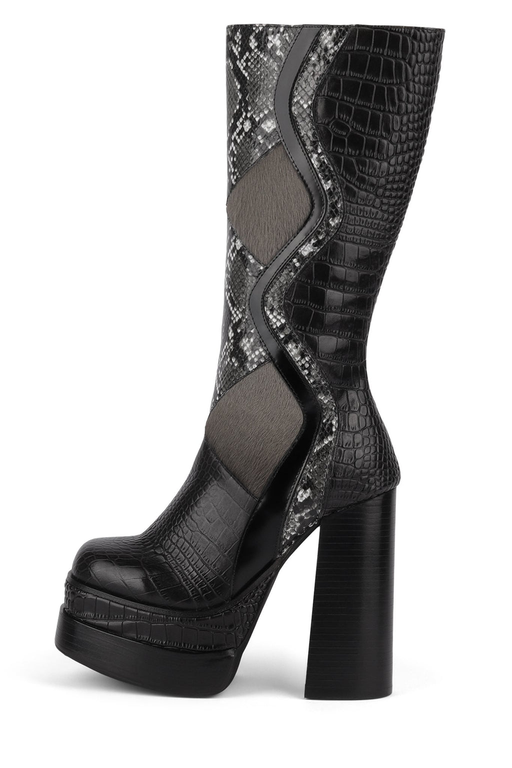 ROCKIN-IT Mid-Calf Boot HS Black Exotic Multi 6