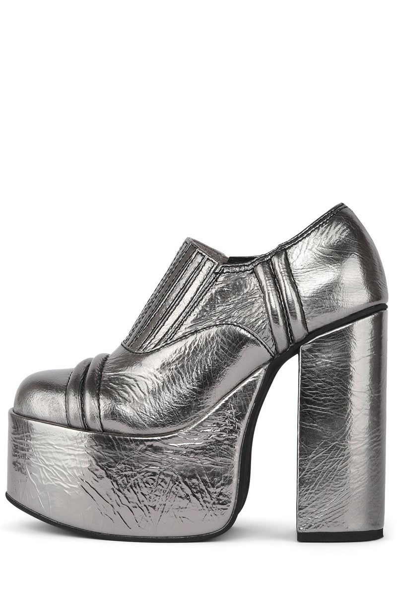 RUN-AWAY Platform Boot HS Pewter Crinkle 6