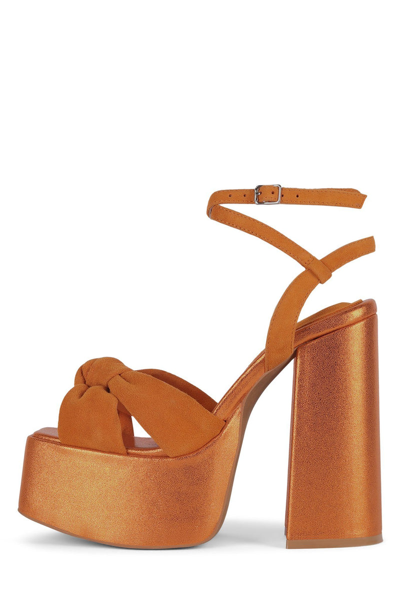 SEVENTIES Platform Sandal HS Orange Metallic Suede Combo 6
