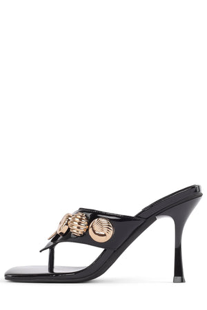 SIDORA Heeled Sandal Jeffrey Campbell Black Patent Gold 6