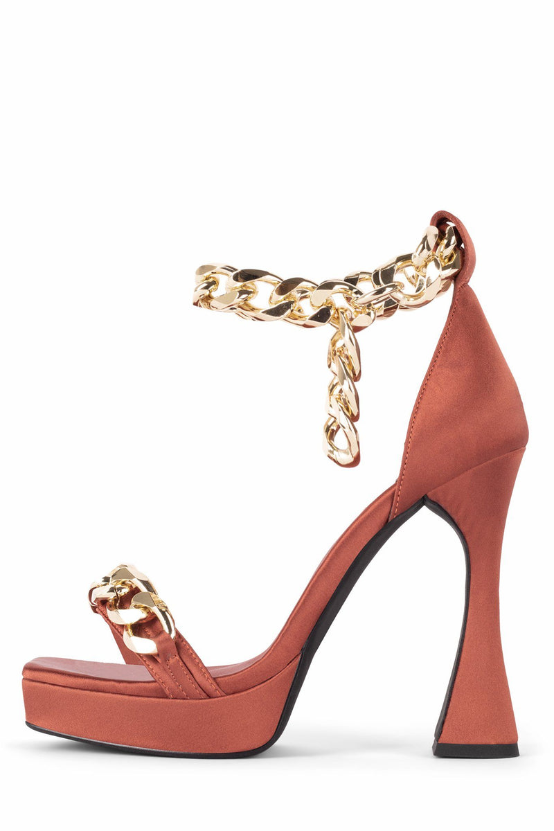 SILVERLAKE Heeled Sandal STRATEGY Rust Satin Gold 5