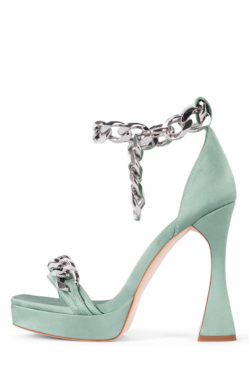 SILVERLAKE Heeled Sandal STRATEGY Turquoise Satin Silver 5