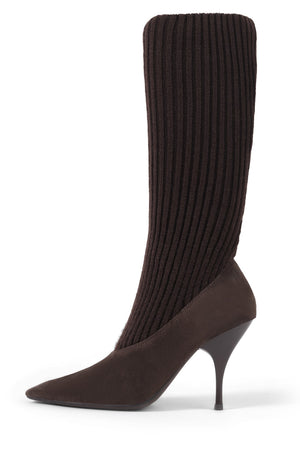 SOCK-IT Mid-Calf Boot STRATEGY Brown Suede Brown 6