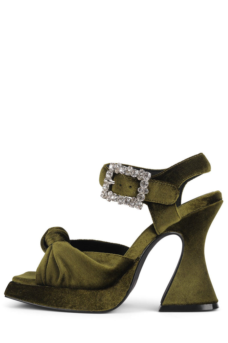 THE-CRAFT Platform Sandal DV Olive Velvet 6