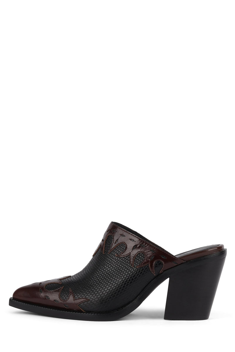 TONTO Heeled Mule YYH Brown Black Lizard 6