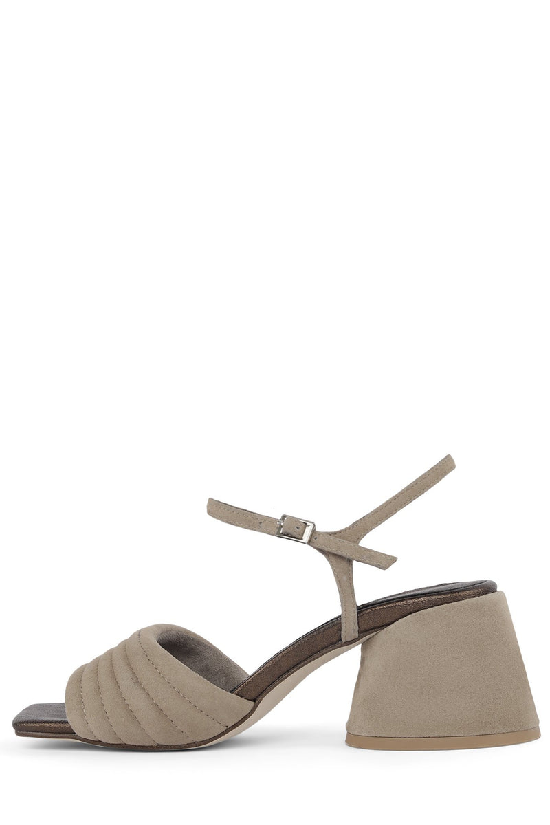VERRA Heeled Sandal YYH Taupe Metallic Suede Combo 6