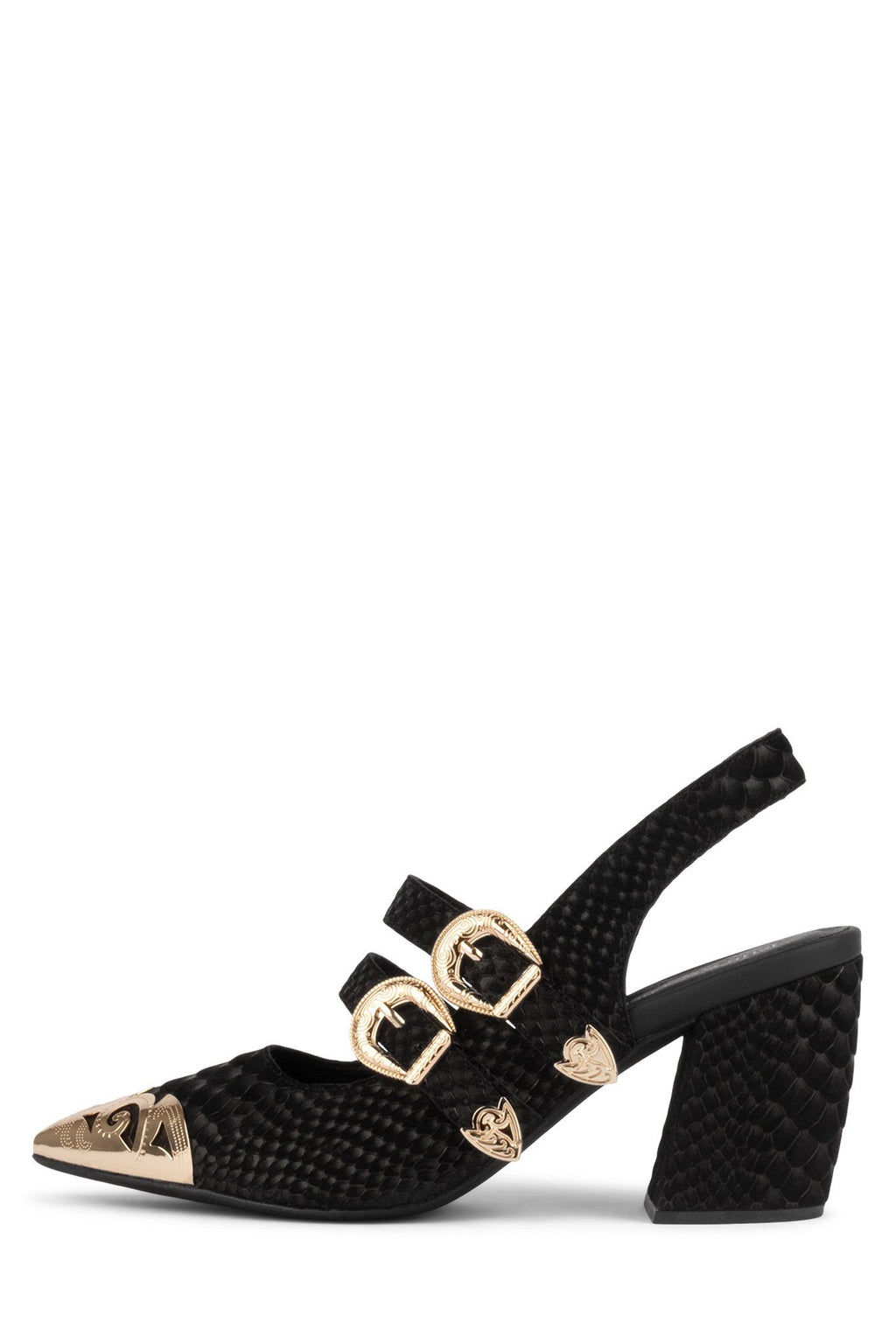 WALTER Pump Jeffrey Campbell Black Matte Snake Gold 6
