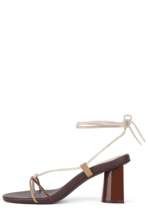 XIFENG Heeled Sandal Jeffrey Campbell Brown Patent Multi 6
