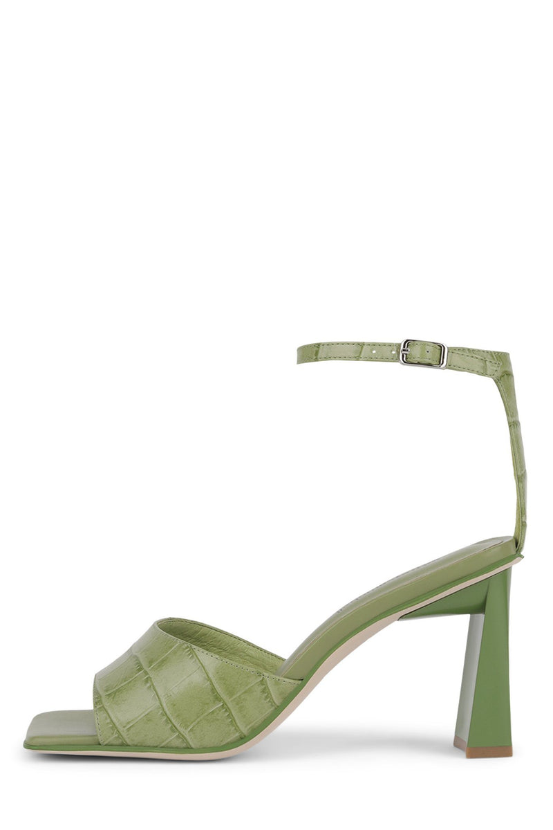 ZEBULON Heeled Sandal Jeffrey Campbell Green Croco 6